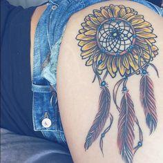 dreamcatcher-sunflower tattoo #tigh #colour