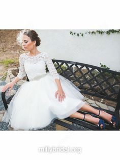 $200 Pretty Knee-length Scoop Neck White Tulle Lace 3/4 Sleeve Wedding Dress - millybridal.org
