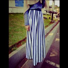 Vertical stripes maxi skirt NurZahra