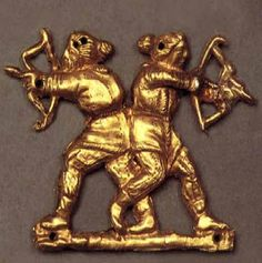 Scythian gold. Bowl from Gayman kurgan, Zaporojie The repeating pattern on the upper band of the bowl matches the stylized Türkic runiform character