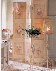 pink rose painted dressing screen shabby romantic cottage style