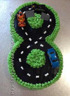 I was excited when my son turned 8! He was into racing tracks and cars. What a perfect combination for making a cake... a number 8 race track cake. ...