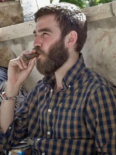Beards. Men. Flannel. Cigars.