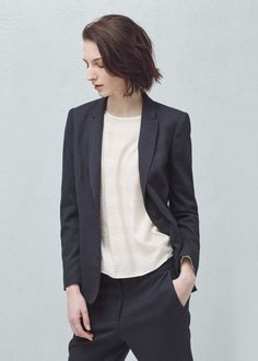 Textured blazer - Jackets for Women Blazer Jackets For Women, Blazers For Women, Mango Outlet, Fashion Outlet, Texture, Long Sleeve, Womens Fashion, Shirts, Outfits