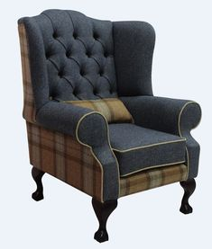 Chesterfield Frederick Wool Wing Chair Fireside High Back Armchair Skye Sage/Grey Check Tweed High Back Armchair, High Back Chairs, Living Room Chairs, Living Room Furniture, Sofa Design, Furniture Design, Animal Print Furniture, Chesterfield Armchair, Wing Chair