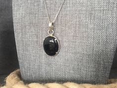 "Flawless, Black Onyx, Silver, Pendant, Necklace, 925, Simple Setting, 18"" Box Chain, Medium Size, Oval, Perfectly Polished by BonnieRoseJewelry on Etsy"