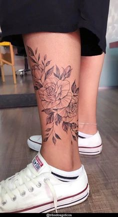Simple Leg Tattoos, Leg Tattoos Small, Flower Leg Tattoos, Back Of Leg Tattoos, Girl Leg Tattoos, Ankle Tattoos For Women, Tattoos For Guys, Inner Ankle Tattoos, Cute Ankle Tattoos