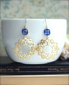 Cobalt Blue Boho Filigree Gold Earrings ~ Exotic