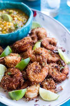 Coconut-Lime Fried Shrimp with Fiery Mango-Peach Jalapeño Sauce
