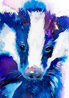 Original Watercolour Painting Badger animal by SlaviART on Etsy