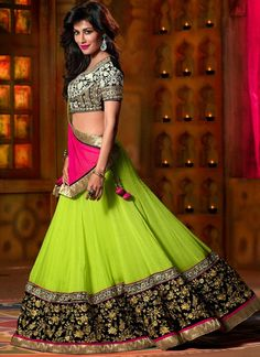 Charismatic Chitrangda Singh Green and Pink Georgette, Net and Velvet A - Line Lehenga Choli