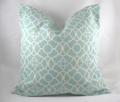 Decorative Pillow Cushion Cover – Accent Pillow – Throw Pillow – Waverly – Lovely Lattice Tiffany Blue – 18 x 18 Inch – Indoor Outdoor - All For Light İdeas Cushion Covers, Pillow Covers, Tiffany Blue Bedroom, Accent Pillows, Throw Pillows, Couch Pillows, Tiffany Ceiling Lights, My Living Room, Porch Decorating