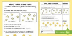More, Fewer or the Same Activity Sheet - Groups, share, equally, solve, bigger, smaller, fewer, more, the same,Australia, Worksheet