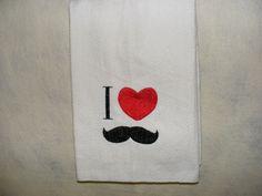 Dish Towel Waffle I Heart Mustache Red by LJsCustomCreations, $7.00