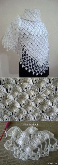 Beautiful shawl. Step by step photo instructions. Instructions are not in English.