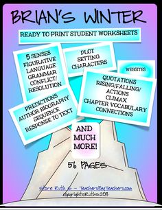 BRIAN'S WINTER! A 56 page packet of ready to print worksheets that saves teachers time. priced item