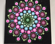 Hand Painted Mandala on Canvas, Meditation Mandala, Dot Art, Healing, Calming, #526