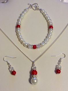 Red Pearl Crystal Pendant Jewellery Set Bridal Wedding Gift | eBay