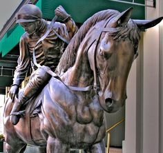 Horse statues line the streets of #Saratoga