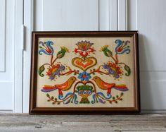 Vintage Folk Art Framed Crewel Work