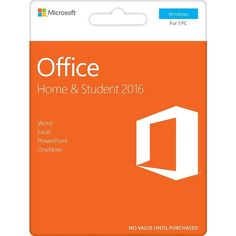 Office Home & Student 2016 (Spanish Edition), 1 PC (Product Key Card) - Windows, Orange, 79G-04574