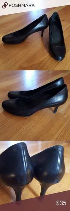 "Cole Haan pumps Pre-loved  leather pump Very comfortable, there are some scuff marks,  but I think a good polishing would revive them to their classic beauty. Thete is a lot of l8fe in this shoe wardrobe staple!  Extra set of heels! 2.75"" heel Cole Haan Shoes Heels"