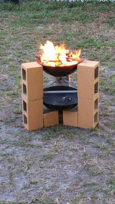 simple temporary cinder block fire pit