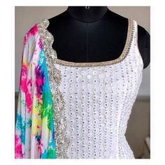 Items similar to Georgette based pajjami chuuridar suit with multi colour dupatta . on Etsy Simple Kurta Designs, Kurti Neck Designs, Kurta Designs Women, Blouse Designs, Chudidhar Designs, Sharara Designs, Indian Fashion Dresses, Dress Indian Style, Indian Designer Outfits
