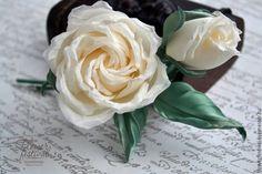 """Silk flowers. Цветы ручной работы. Ярмарка Мастеров - ручная работа Оксаны Чистовой. Роза """"Вендела"""" айвори из шелка. Цветы из ткани. Handmade."""