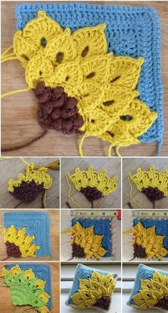 Quarter Sunflower Square: free pattern by SuviSquare Crocus Sunflower - Step by Step - ✁ CK CraftsHandmade Archives - Page 19 of 54 - Design PeakLearn how to make Square Sunflower Crochet and get inspired with ideas of where to apply them The. Art Au Crochet, Crochet Motifs, Crochet Blocks, Crochet Pillow, Crochet Afghans, Crochet Squares, Crochet Crafts, Crochet Stitches, Crochet Projects