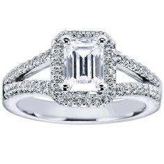 "Ben Garelick Royal Celebration ""Addison"" Diamond Emerald Cut Diamond Engagement Ring Featuring 0.31 Carats Round Cut Diamonds. Style ER5874W44JJ"