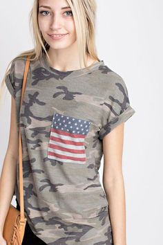 Camo, Stars, and Stripes Top