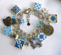 Portugal Antique BLUE  Azulejo Tile Charm Bracelet -SARDINE, Heart  Minho, Cross, Rooster -  1964 50 Centavo Coin-- OOAK