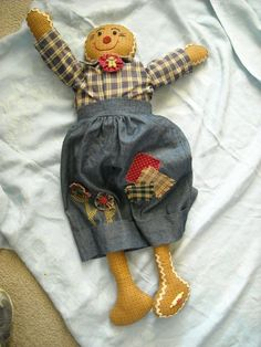 large 2' primitive cloth doll hand crafted made gingerbread boy man doll decor