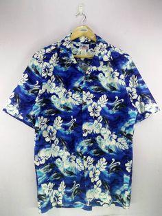 6c9102bad2c2 Made In Hawaii Vintage Hawaii Floral Hibicus Ocean Blue Rockability Pattern  Abstract Hawaiian Shirt Buttons Up