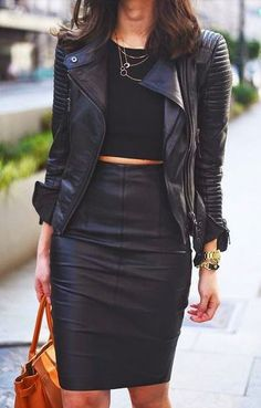 Street style edgy black leather