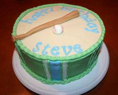 Instructions for creating a baseball birthday cake.