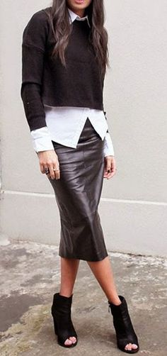 Black Plain High Waisted Fashion Skirt
