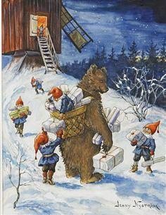 Jenny Nyström Fem tomtar lassar på björn med klappar  ca. 1920–1929