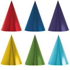 """Amscan Rainbow Foil Cone Any Occasion Party Hats, Red/Yellow/Green/Blue/Violet, 7"""""""