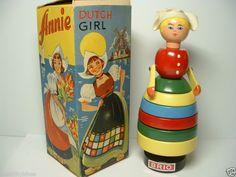 """VINTAGE BRIO WOODEN STACKING TOY DUTCH GIRL """"ANNIE"""""""