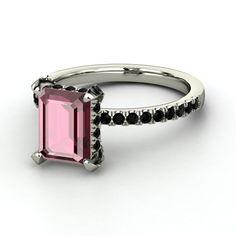 Emerald-Cut Rhodolite Garnet Sterling Silver Ring with Black Onyx - Emerald-Cut Carrie Ring (9mm gem) |
