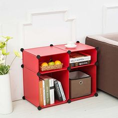 C&AHOME - DIY Plastic Storage Cube,Bookcase Without Door,Cube of 4 (Red) C&AHOME