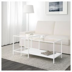Note spray paint hack!! IKEA VITTSJÖ Nest of tables, set of 2 White/glass 90x50 cm The table tops in tempered glass are stain resistant and easy to clean.