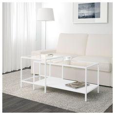 VITTSJÖ Nesting tables, set of 2 - white/glass - IKEA