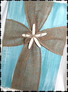Items similar to Cross Decor White and Turquoise Paint Distressed Wood With Burlap Cross Beach Decor Shabby Chic on Etsy Wood Crafts, Diy And Crafts, Arts And Crafts, Rustic Crafts, Burlap Projects, Craft Projects, Craft Ideas, Home Projects, Burlap Cross