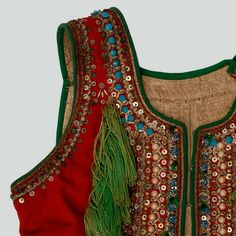 oman's bodice of red wool. Decorated with haberdashery trimmings, buttons, sequins, the so-called owies oblong beads and embroidery. Russian Embroidery, Embroidery Applique, Costumes Around The World, Folk Clothing, Butterfly Chair, Krakow, Haberdashery, Pattern Books, Shawls And Wraps