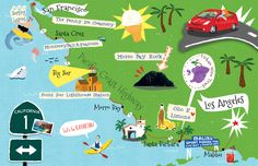 Illustrated map of California for Mabuhay Magazine. All works are copyrighted to me Audrey Ang.