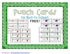 Punch cards are a fun and exciting way to reward students.   Included in this free download are 4 different pages (6 cards on each page) of punch cards:  *Homework On Time punch card *You Rock! punch card *A.R. Champ punch card *Way to Use Your Brain! punch card  These cards can be printed on card stock and given to students to reward them in a number of ways.  Rewards can include: -homework passes -classroom coupons -raffle prizes -books -and many more!