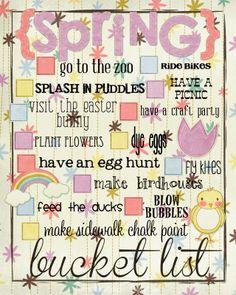 Funky Polkadot Giraffe: Printable Spring Bucket List